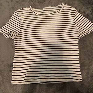 stripped ribbed short fitted tee